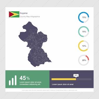 Modelo de infográficos de mapa e bandeira da guiana