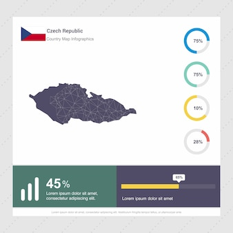 Modelo de infográficos de mapa e bandeira da república tcheca