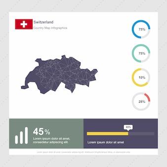Modelo de infográficos de mapa e bandeira da suíça