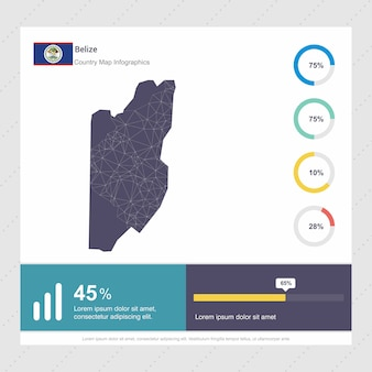 Modelo de infográficos de mapa e bandeira de belize