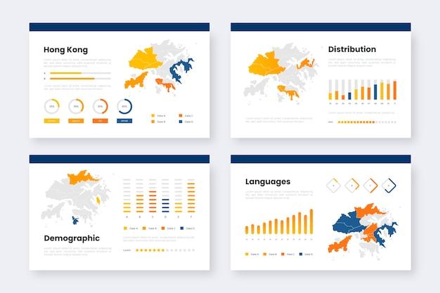 Modelo de infográficos de mapa gradiente de hong kong