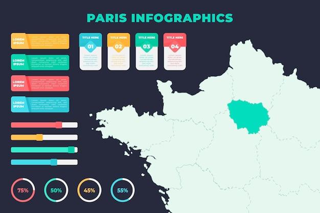 Modelo de infográficos de mapa plano de paris