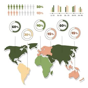 Modelo de infográficos de mapas desenhados à mão