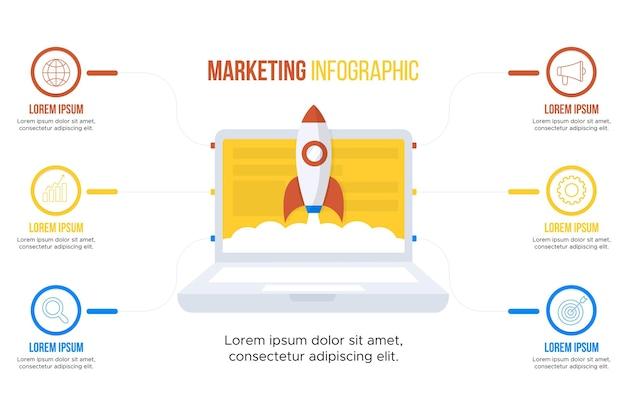 Modelo de infográficos de marketing
