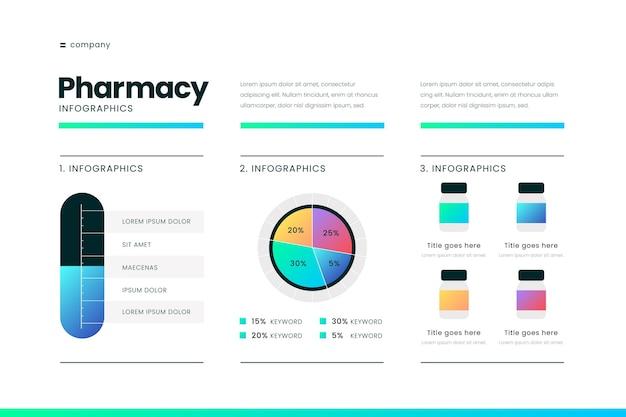 Modelo de infográficos de medicamentos de gradiente