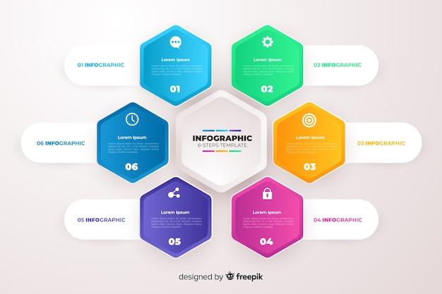 Modelo de infográficos de negócio gradiente