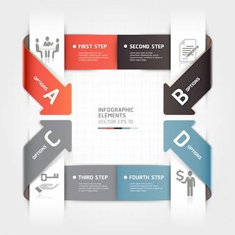 Modelo de infográficos de negócio seta abstrata.