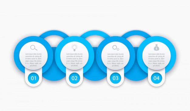 Modelo de infográficos de negócios, 1, 2, 3, 4 etapas