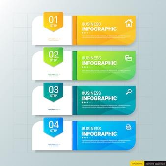 Modelo de infográficos de negócios 4 etapas.