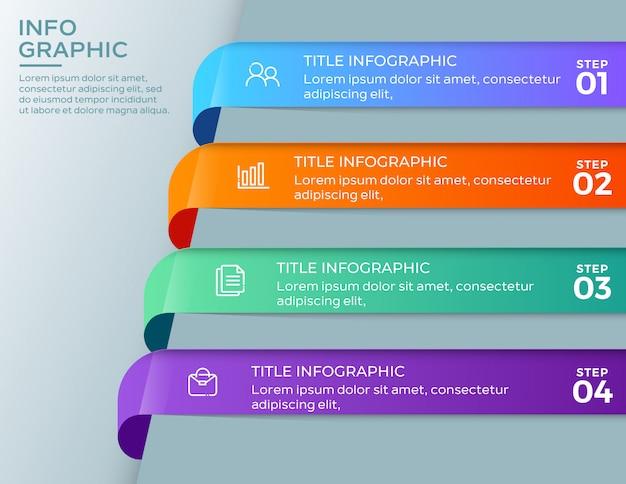 Modelo de infográficos de negócios 4 passos