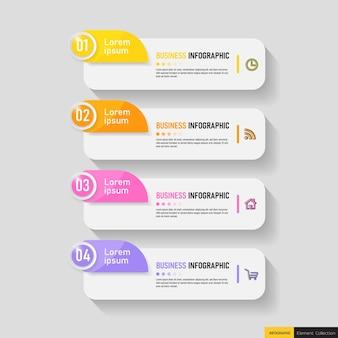 Modelo de infográficos de negócios com 4 etapas Vetor Premium