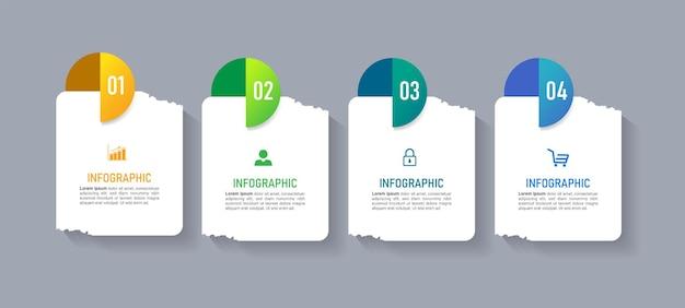 Modelo de infográficos de negócios com 4 etapas
