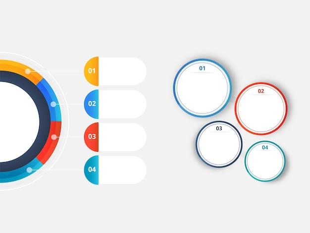 Modelo de infográficos de negócios com quatro opções e círculos vazios em fundo cinza.