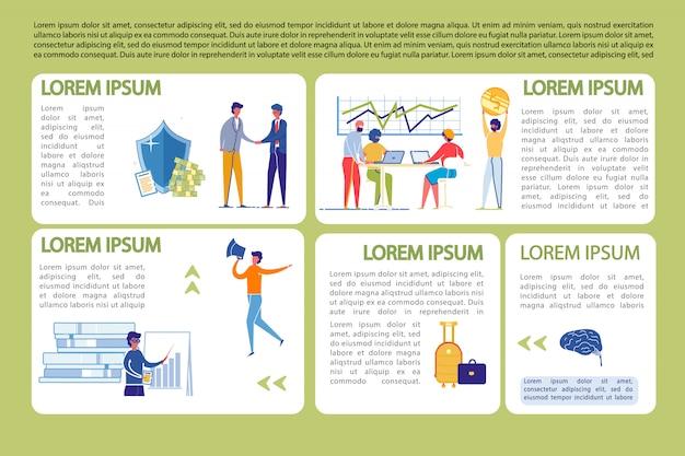 Modelo de infográficos de negócios conjunto com pessoas que trabalham.