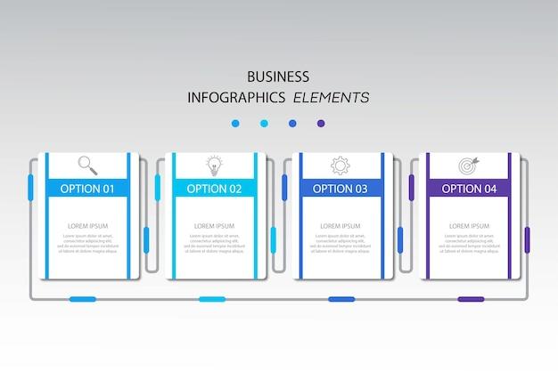 Modelo de infográficos de negócios de apresentação com 4 opções.