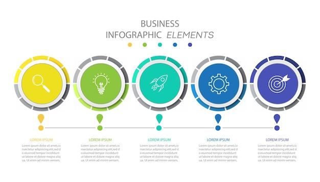 Modelo de infográficos de negócios de apresentação com 5 opções.