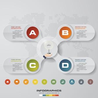 Modelo de infográficos de negócios de apresentação de 4 opções.