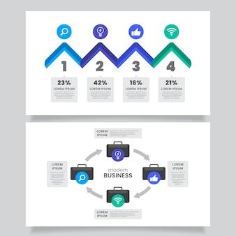 Modelo de infográficos de negócios de design plano