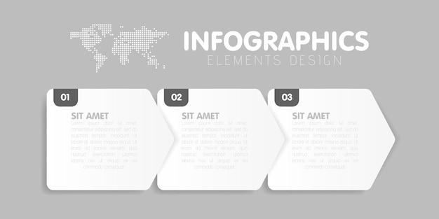 Modelo de infográficos de negócios. linha do tempo com 3 etapas de seta, três opções de número. elemento vetorial