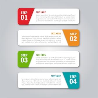 Modelo de infográficos de negócios. numera quatro etapas isoladas no fundo branco.