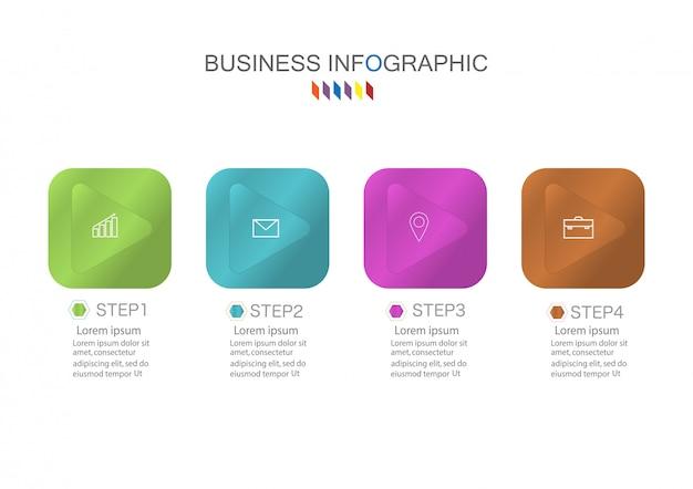 Modelo de infográficos de negócios o conceito é passo de opção do círculo 4 com cores
