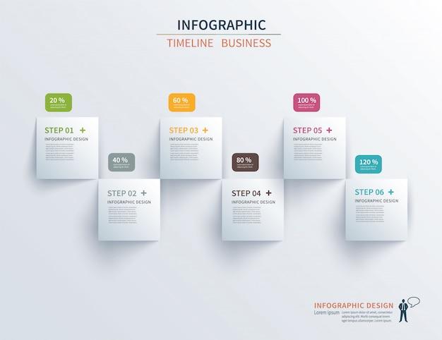 Modelo de infográficos de negócios seis etapas com praça.