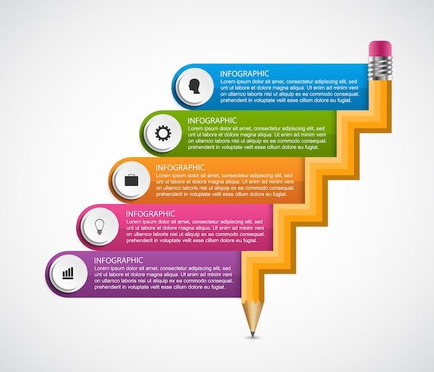 Modelo de infográficos de opções abstratas de educação.