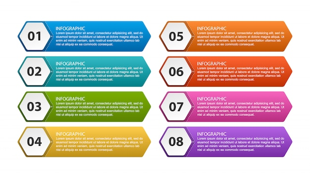 Modelo de infográficos de opções com etapas