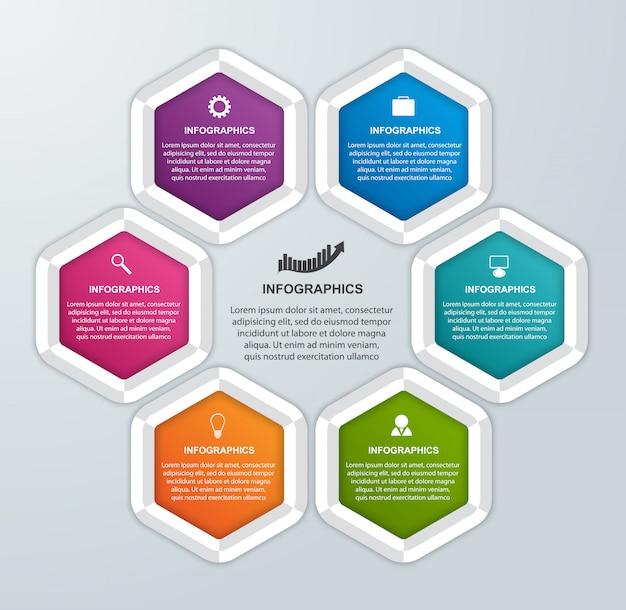 Modelo de infográficos de opções de negócio abstrato hexágono.