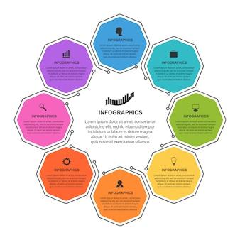 Modelo de infográficos de opções do hexágono.