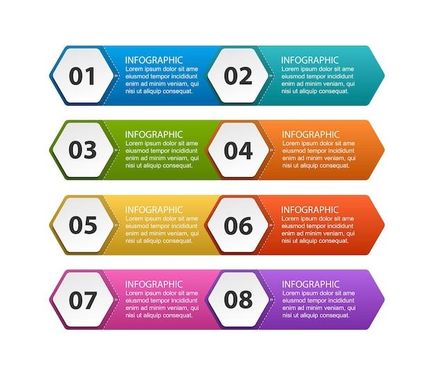 Modelo de infográficos de opções hexagonais