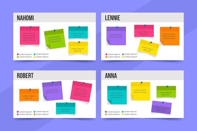 Modelo de infográficos de painéis de notas adesivas de design plano