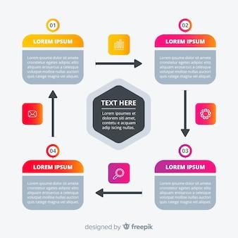 Modelo de infográficos de passos coloridos