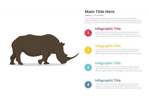 Modelo de infográficos de rinoceronte