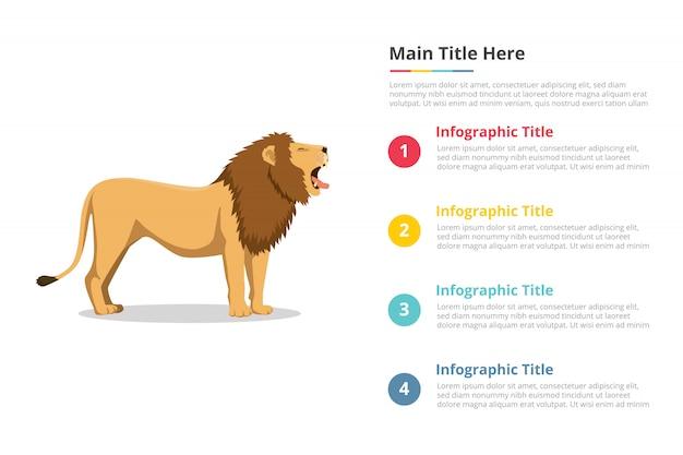 Modelo de infográficos de rugido de leão