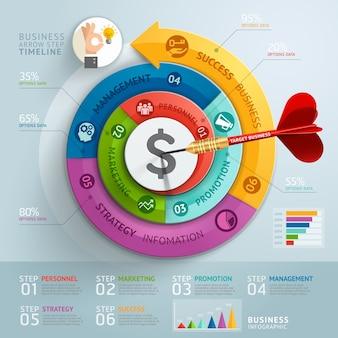 Modelo de infográficos de seta de etapa de negócios.