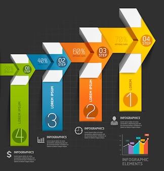 Modelo de infográficos de seta moderna.