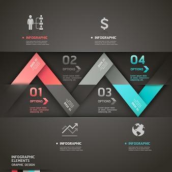 Modelo de infográficos de seta origami abstrato.