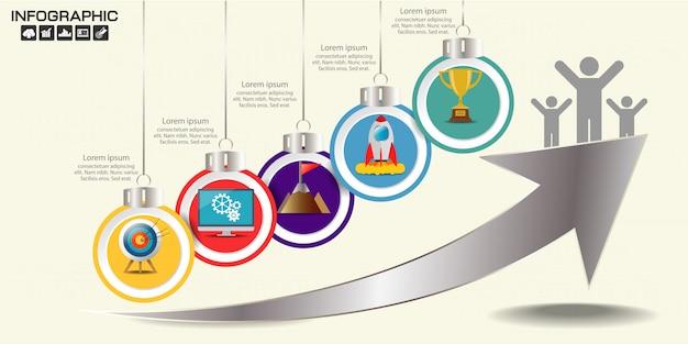 Modelo de infográficos de seta timeline cinco opções