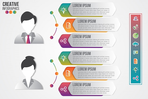 Modelo de infográficos de símbolo de avatar masculino e feminino com ícones definidos para design de apresentação limpo