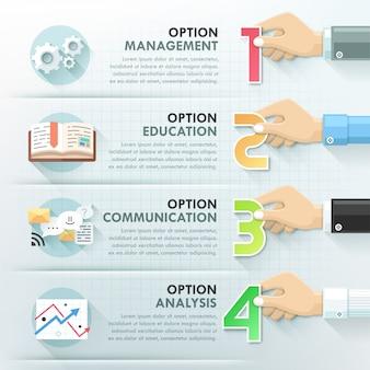 Modelo de infográficos de trabalho em equipe mãos de negócios