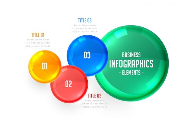 Modelo de infográficos de três etapas de negócios