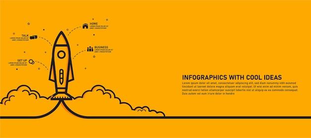 Modelo de infográficos de um foguete ou nave espacial sendo lançado através das nuvens, seguido de um ícone de 4 etapas e texto. ideias de negócios para startups de sucesso use-o para layouts de web design e fluxo de trabalho.