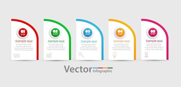 Modelo de infográficos de vetor com 5 etapas, opções, fluxo de trabalho, gráfico de processos