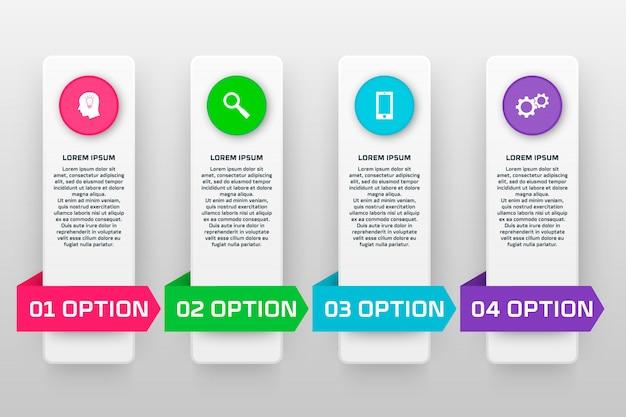 Modelo de infográficos de vetor com quatro opções no estilo de design do material.
