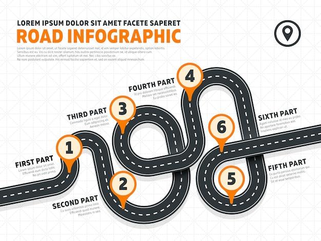 Modelo de infográficos de vetor de marketing estrada rua empresarial