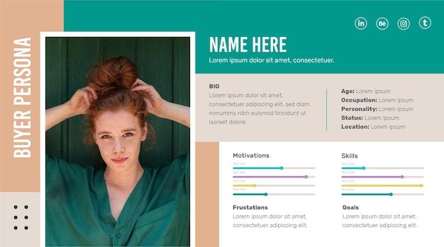 Modelo de infográficos do comprador persona com foto