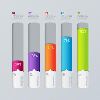 Modelo de infográficos do gráfico de barras do indicador de etapas multicoloridos