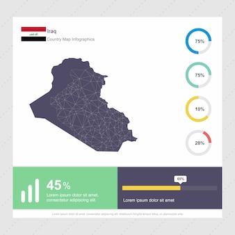 Modelo de infográficos do iraque map & flag