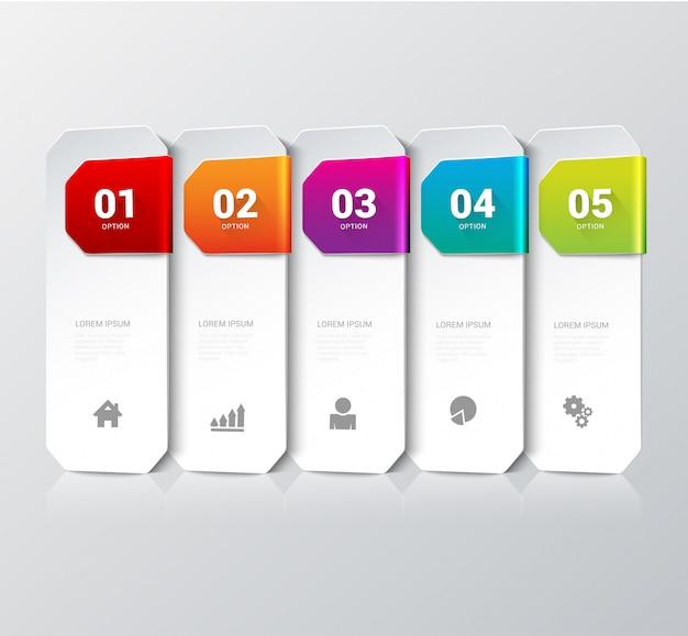 Modelo de infográficos do processo de etapas multicoloridas